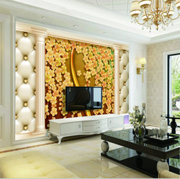 Decorative Wall Curtains Australia - Custom Retail Golden Lychee Curtain TV Background Painting Wall Decorative Painting Mural Wallpaper