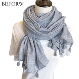 Discount thick warm blankets - BEFORW Warm Blanket Scarf Woman Wrap Long Tassel Plaid Thick Brand Shawls and Scarves For Women Autumn Winter Cotton Lin