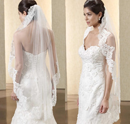 Hair Color Edges Australia - 2019 Hot Sell Wedding Bridal Veils with Lace Applique Embellished White   Ivory Color Tulle Short Wedding Veils Hair Accessories
