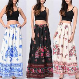 b3475b8e4aa4 Women Boho Skirts Canada - Women Summer Beach Floral Holiday Long Skirt  Female Chic Vintage Boho