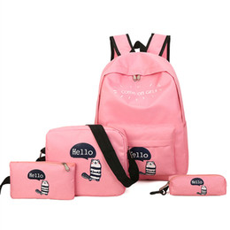 $enCountryForm.capitalKeyWord NZ - 4pcs Set School Backpacks Book Bag for Students Backpack Cute Girls Casual Rucksack Daypack with Letter Nylon Fashion Bags Offer Stationery