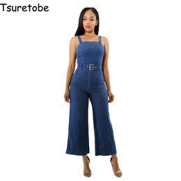 backless denim jumpsuits 2019 - Tsuretobe Summer Blue Spaghetti Strap Sashes Denim Jumpsuit Women Off Shoulder Bodycon Jumpsuit Sleeveless Backless Over