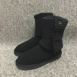 NyloN kNit fabric online shopping - Fashion Ugs Women Snow Boots Button Knitting Winter Warm Knee high Long Boots Brand Ivg Black Grey Size US5