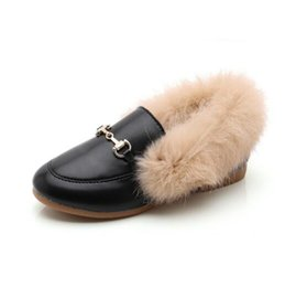 c7017a6aa ... invierno de las niñas Conejo pelo Botas de cuero de la PU zapatos  casuales guisantes de peluche zapatos princesa niño Calzado de algodón  cálido Botines
