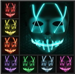 $enCountryForm.capitalKeyWord NZ - LED Halloween Ghost Masks The Purge Movie EL Wire Glowing Mask Masquerade Full Face Masks Halloween Costumes Party Gift