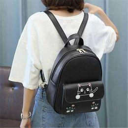 $enCountryForm.capitalKeyWord NZ - Japanese Kawaii Backpack Women Korean Cute Cat Printing Students Schoolbags For Teenager Bag PU Leather Black Mini Backpacks