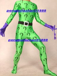 $enCountryForm.capitalKeyWord NZ - New Green Lycra Spandex Riddler Suit Catsuit Costumes Fantasy Rules Problem Mark Suit Outfit Unisex Riddler Body Suit With Purple Glove P274