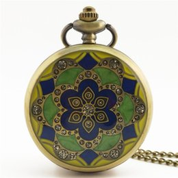 pocket watches for 2019 - GENBOLI 1PC Flower Pattern Vintage Antique Round Dial Quartz Pocket Watch Necklace Pendant Clock For Mens Womens Best Gi