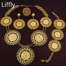 Wholesale gold set coins for sale - Group buy Liffly Classic Africa Italy Abaya Long Jewelry Sets Gold Coin Women Dubai Wedding Gold Crystal Necklace Earrings Accessories