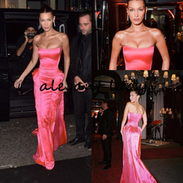 celebrities red carpet skirt UK - Hot Pink Strapless Prom Formal Dresses 2019 Bella Hadid Modest Ruffles Skirt Full length Red Carpet Celebrity Evening Party Gown Wear