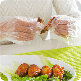 kitchen utilities NZ - Disposable gloves polyethylene transparent food service BBQ household gloves utility multifuctional kitchen gloves Vinyl Nitrile Latex Free