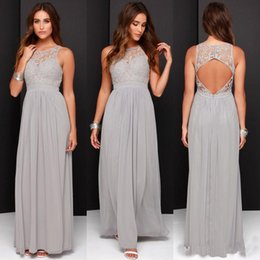 Grey Green bridesmaid dress online shopping - Country Grey Bridesmaid Dresses for Wedding Long Chiffon A Line Backless Formal Dresses Party Lace Modest Maid Of Honor Dress