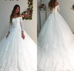 simple sexy chic wedding dresses Canada - Chic Applique Lace Wedding Dresses Sexy Off Shoulder Long Sleeve Church Bridal Gown Soft Tulle Wedding Dress Custom Made