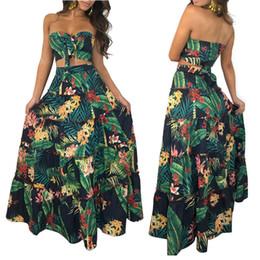 Green Printed Dress NZ - Green Floral Print Bow Knot Maxi Boho Dresses Moda Mujer Vestidos Summer Women Strapless Crop Top 2 Piece Set Long Dress