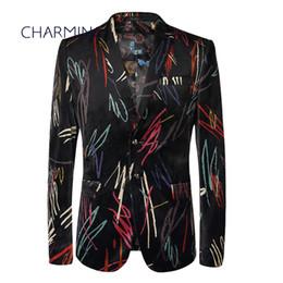 $enCountryForm.capitalKeyWord Canada - Mens suit design Casual suits for men High-end custom graffiti design Gentleman dress Suitable for singers, dancers, young men suits