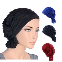 female turban hat 2019 - Moslem Heap Cap New Novelty Women Spring Autumn Pirate Hat Female Beanies Ladies Wavy Popular Muslim Pile Heap Cap Casua