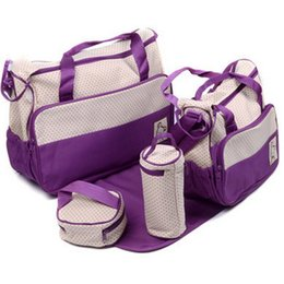 baby bags pcs UK - Mummy Bags 5-pcs Set Waterproof Handbag Diaper Bag Large Capacity Travel Backpack Nappy Changing Diaper Pad Bag Organizer Baby Nursing Bag