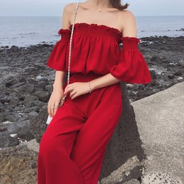 korean one piece dresses 2019 - Korean bare shoulder one character shoulder short sleeve shirt high waist wide legged trousers two-piece women's su
