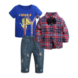China 3PCS Kids Clothes Boys Clothing Sets Baby Boys Clothes Plaid Shirt + T Shirt + Jeans Pants Sets for Boys Kids Fashion suppliers