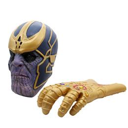 Discount blue latex gloves - The Thanos Infinity Gauntlet Cosplay Gloves Prop Halloween Hard Latex : Infinity War Mask Gauntlet Energy