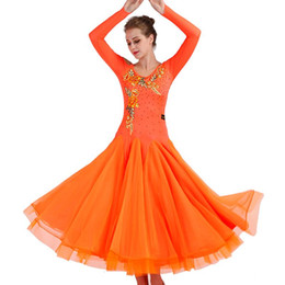 Chinese  Standard Ballroom Dance Dress 2018 New Competition Dresses Big Swing Rhinestone Costumes For Women Tango Waltz Modern Dancing Dress F312 manufacturers