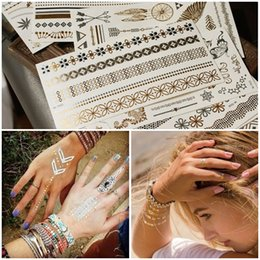 Venta al por mayor de Hot Flash Metálico Tatuaje Temporal Suministros de Tatuaje de Oro Plata Tatoo Impermeable Joyería Etiqueta Engomada Del Tatuaje de Henna Body Art