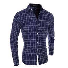 social 2019 - 2018 New Men Plaid Shirt Fashion Youth Social Long Sleeve Shirt Business Casual Slim Men's Dress camisa masculina M