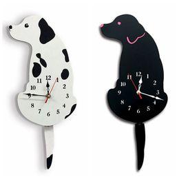 $enCountryForm.capitalKeyWord Australia - Acrylic Clocks Wall Stickers Creative Cartoon Dog Tail Movement Wall Clock Stick Way Silence Hanging Clocks Home Decor 1pc