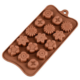 flower shape silicone UK - Silicone Flower-shaped Chocolate Molds Home Baking High Temperature DIY Mold Tool Kitchen Baking Tools