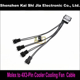 """High Quality Power Cable Australia - 50pcs  Lot 6"""" High quality 4Pin IDE Molex to 4-Port 3 Pin Cooler Cooling Fan Splitter Power Cable- Black UL 1007 22AWG wire"""