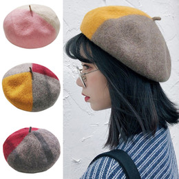 34fac58bffe85 Female Matching Style Autumn Winter Woolen Beret Color Warm Hat Fashion  Student Pumpkin Painter Beanie Hat Ski Cap