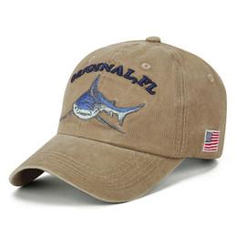 0fb41aa99 2018 new shark embroidery baseball cap US flag cotton washed snapback hat  wpmen sun hat retro casual caps men sports hats
