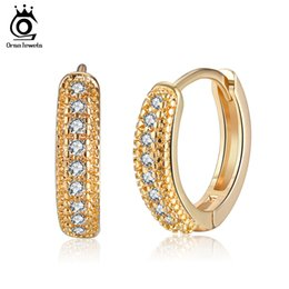 Hoop earring wHite gold small online shopping - ORSA JEWELS Gold color Female Hoop Earrings Paved Clear Cubic Zircon Luxury Women Small Earring Fashion Ladies Jewelry OME44