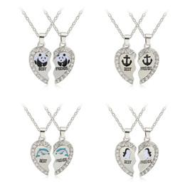 Vente en gros 2pcs / set Best Friends colliers brisés strass pendentif coeur colliers Bff émail panda pingouins dauphins amitié bijoux