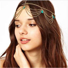 $enCountryForm.capitalKeyWord Australia - New Arrival Indian Bridal Hair Accessories Head Chain Women Vintage Boho Headpiece Jewelry Wedding Color Forehead Tiara