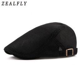 $enCountryForm.capitalKeyWord NZ - Summer Mesh Beret Hat For Men Women Solid Casual Ivy Flat Cap Cabbie Newsboy Style Gatsby Hat Adjustable Breathable Net Caps