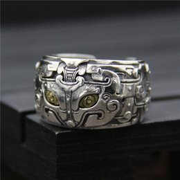 Thailand sTerling silver rings online shopping - 925 sterling silver ring Fashion personality gluttonous god beast mens ring Thailand silver vintage alternative open ring hip hop jewelry