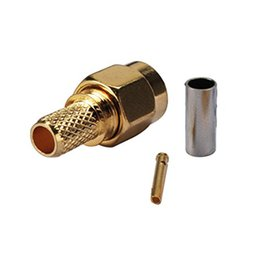 Sma connector crimp online shopping - RP SMA Male Plug RF Coax Connector Crimp for RG58 LMR195 RG142 RG400Cable Straight Goldplated RP SMA Male Adapter
