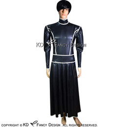Wholesale rubber maid for sale - Group buy Black With White Trims French Maid Sexy Long Latex Dress Rubber Uniform Gown Playsuit Bodycon LYQ