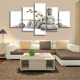 Hd flowers painted canvas online shopping - Buddha Chid Flower Painting Print On Canvas Wall Art Home Decor For Living Room Pictures Panel Large HD Printed Painting Frame