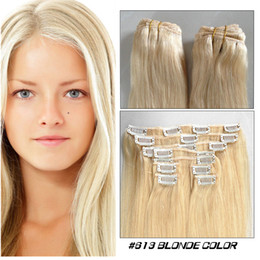 Wholesale Blonde color Clip in human hair extension straight quot quot Indian Remy Clip on hair cheap hair