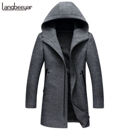 Wool Peacoat Jacket Canada - New Fashion Brand-Clothing Wool & Blends Jacket Men Hooded Business Casual Mens Peacoat Top Grade Long Winter Mens Coats