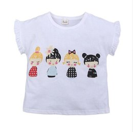 kids cartoons t shirts wholesale Australia - pink white T-shirts for baby girls cotton summer dress kids tales short sleeve clothing children clothes T shirt cut cartoon free shipping