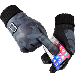 China men winter gloves camouflage pu Touch Screen Glove thickness Winter Ski Warm Gloves Motorcycle Driving Gloves LJJK1121 cheap touch fingers suppliers