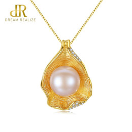 c463765b6 DR Charm Shell Design Pearl Jewelry 925 Sterling Silver Jewelry Fashion Pearl  Pendant Necklaces for Women 18k Gold Color