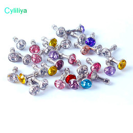 Headphone Jack Dust Cap UK - 1000pcs Lot Anti Dust Plug Headphone Plugs Stopper Cap Gadgets Mobile Phone Accessory Rhinestone 3.5mm Earphone Jack