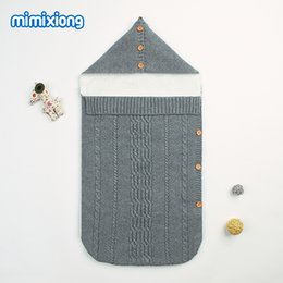 sleep sack cotton 2019 - Autumn Knitted Envelopes For Newborn Baby Winter Warm Bedding Swaddle Wrap Sleep Sack Blankets Grey Velvet Infant Sleepi