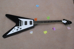 Discount guitar flying v - Hot sale Factory custom 22 frets flying V black electric guitar with white pickguard,HH pickups,can be customized as req