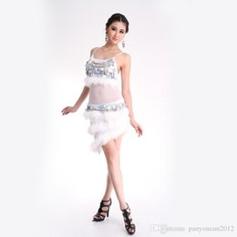 New Adult Latin Dance Dress Beaded Sequins Feathers Modern Jazz Costumes  Tango Cha Cha Samba Rumba A0314 2276acec4447