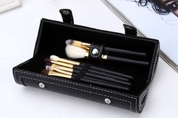 Black Leather Bag Set NZ - New Arrival M Brush Set 9pcs Makeup brushes with Portable Luxury Leather Bag Black Color Cosmetic Powder Brushes Set leather pouch DHL Free